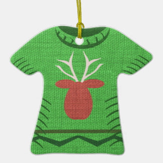Ugly Sweater Award Double-Sided T-Shirt Ceramic Christmas Ornament