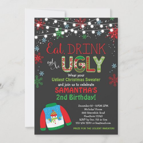 Ugly Sweater Birthday Invitation  Christmas Party