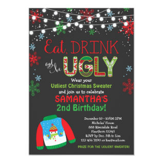 Ugly Sweater Birthday Invitation / Christmas Party at Zazzle