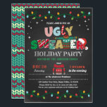 """Ugly sweater Christmas holiday party chalkboard Invitation<br><div class=""""desc"""">[All text are editable, except """"UGLY SWEATER""""] Get this stylish design now! Occasion: Christmas party, holiday party, housewarming party, baby shower, birthday party, retirement., etc. Theme: Christmas, ugly sweater, pajama party Style: modern, chic, cheerful, fun Colors: red, green, grey, festive colors Graphics: chalkboard background, typography, string light, Christmas sweater, faux...</div>"""