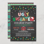 "Ugly sweater Christmas holiday party chalkboard Invitation<br><div class=""desc"">[All text are editable, except ""UGLY SWEATER""] Get this stylish design now! Occasion: Christmas party, holiday party, housewarming party, baby shower, birthday party, retirement., etc. Theme: Christmas, ugly sweater, pajama party Style: modern, chic, cheerful, fun Colors: red, green, grey, festive colors Graphics: chalkboard background, typography, string light, Christmas sweater, faux...</div>"