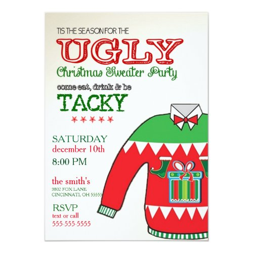 Ugly Sweater Christmas Holiday Party Invitation