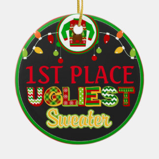 Ugly Sweater Christmas Holiday Winner Prize Ceramic Ornament