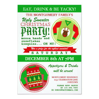 Ugly Sweater Christmas Party 5x7 Paper Invitation Card