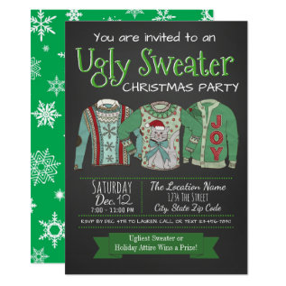Ugly Sweater Christmas Party Chalk Invitation at Zazzle
