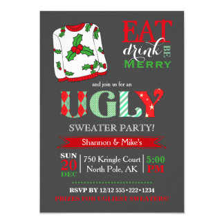 Ugly Sweater Christmas Party Chalkboard Card
