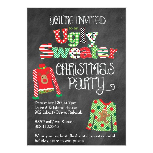 Ugly Sweater Christmas Party Chalkboard Style 5x7 Invitation