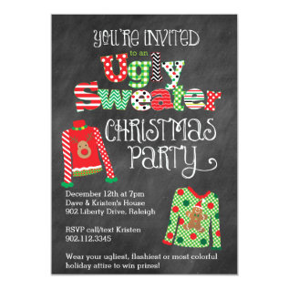 Ugly Sweater Christmas Party Chalkboard Style Card at Zazzle