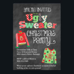 "Ugly Sweater Christmas Party Chalkboard Style Invitation<br><div class=""desc"">Our colorful and fun Ugly Sweater Christmas party invitation features a chalkboard background look with festive Christmas sweaters and a mix of holiday patterns throughout the design! Perfect for any ugly sweater or tacky Christmas sweater theme holiday party!</div>"