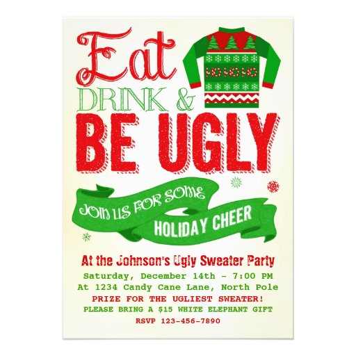 Ugly sweater christmas party holiday invitation for Ugly sweater christmas party invitations template
