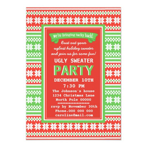 Ugly Sweater Party Invitation with luxury invitation layout