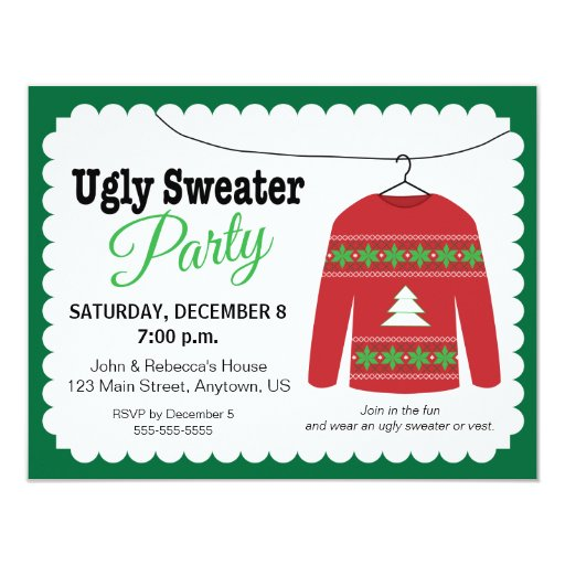 Ugly Sweater Christmas Party 4.25x5.5 Paper Invitation Card
