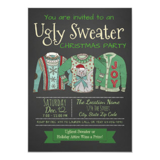 Ugly Sweater Christmas Party Invitation Chalk at Zazzle