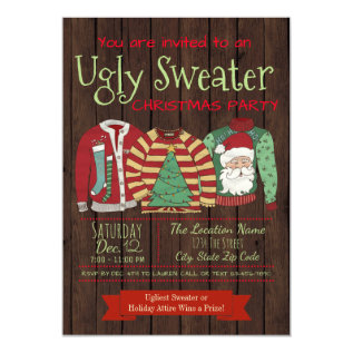 Ugly Sweater Christmas Party Invitations at Zazzle