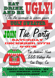 Ugly christmas sweater party invitations zazzle ugly sweater christmas party invitations stopboris Images