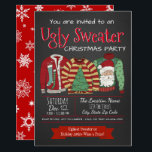 """Ugly Sweater Christmas Party Invitations<br><div class=""""desc"""">Ugly sweater Christmas party invitation with three very ugly sweaters on a chalkboard and snowflake background. You can easily customize these fun ugly sweater Christmas party invitations for your event by simply adding your details in the font style and color you prefer.</div>"""