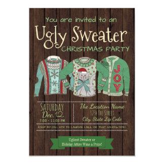 Ugly Sweater Christmas Party Invitations Rustic