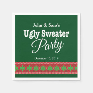 Ugly Sweater Christmas Party, Personalized Napkin at Zazzle