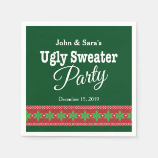 Ugly Sweater Christmas Party, Personalized Standard Cocktail Napkin