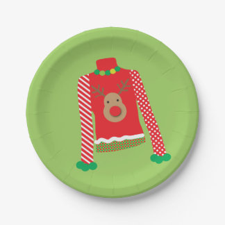 Ugly Sweater Christmas Party Plates (Green)