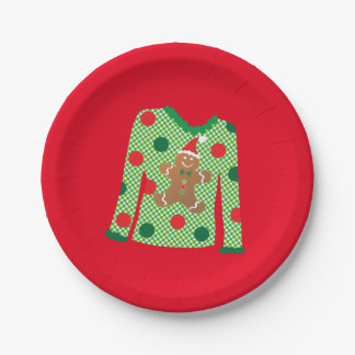 Ugly Sweater Christmas Party Plates (Red)