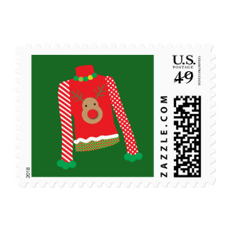 Ugly Sweater Christmas Party Postage Stamp (Green)