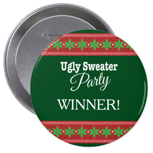 "Ugly Xmas Sweater Party Winner 4"" Round Button"