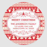 Ugly Sweater Christmas Return Address Label Seals Classic Round Sticker