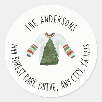 Ugly Sweater Christmas round return address Classic Round Sticker