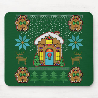 Ugly Sweater Gingerbread Men House Mouse Pad