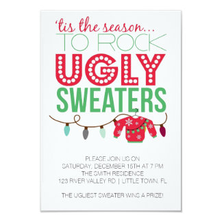 Ugly Sweater Holiday Party 3.5x5 Paper Invitation Card