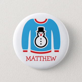 Ugly Sweater Holiday Party Name Tags Pinback Button