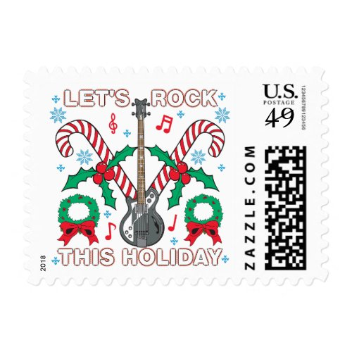 Ugly Sweater Lets Rock This Holiday Design Postage Stamp