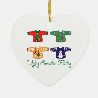 Ugly Sweater Double-Sided Heart Ceramic Christmas Ornament