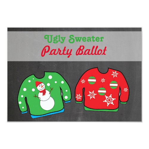 Ugly Christmas Sweater Voting Ballots Two-Sided