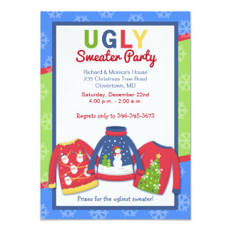 """Ugly Sweater Party Customized Holiday Invitation 4.5"""" X 6.25"""" Invitation Card"""