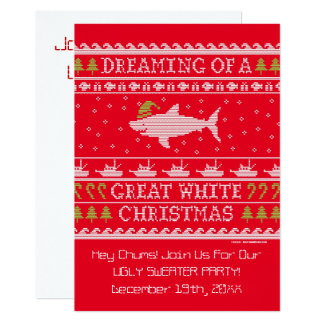 Ugly Sweater Party Funny Shark Invitations