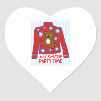 Ugly Sweater Party Heart Sticker