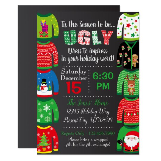 Ugly Christmas Sweater Party Invite.Ugly Sweater Party Invitation Christmas Party