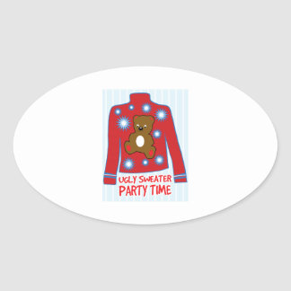 Ugly Sweater Party Oval Sticker