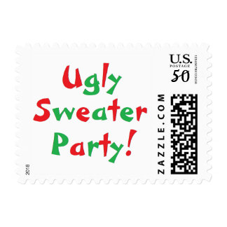 """Ugly Sweater Party!"" Postage Stamps"