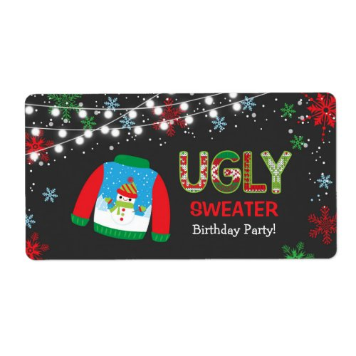 Ugly Sweater Water Bottle Labels / Christmas label