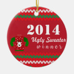 Ugly Sweater Winner Double-Sided Ceramic Round Christmas Ornament