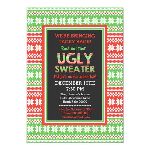 ugly sweater word art christmas party invitation