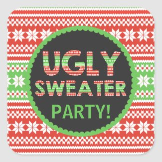 Ugly Sweater Word Art Christmas Party Sticker