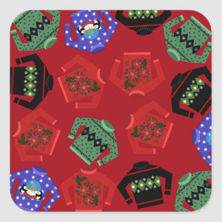 Ugly Sweaters Christmas Square Stickers, Glossy Square Sticker