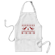 Ugly T-Rex Dinosaur Christmas Sweater Adult Apron