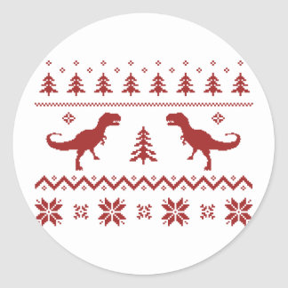 Ugly T-Rex Dinosaur Christmas Sweater Classic Round Sticker