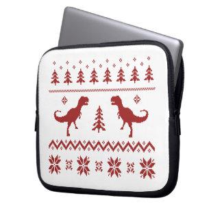 Ugly T-Rex Dinosaur Christmas Sweater Computer Sleeve