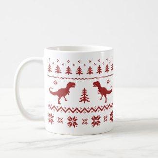 Ugly T-Rex Dinosaur Christmas Sweater Mug